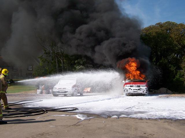 Fire crew at car fire