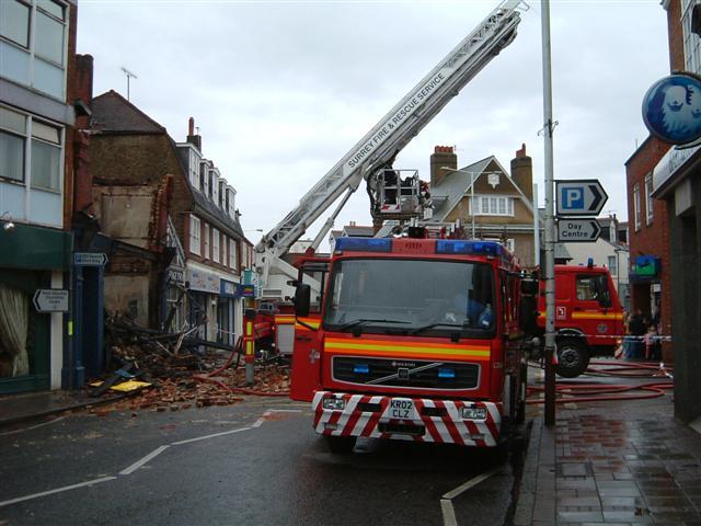 Weybridge store fire engine at work