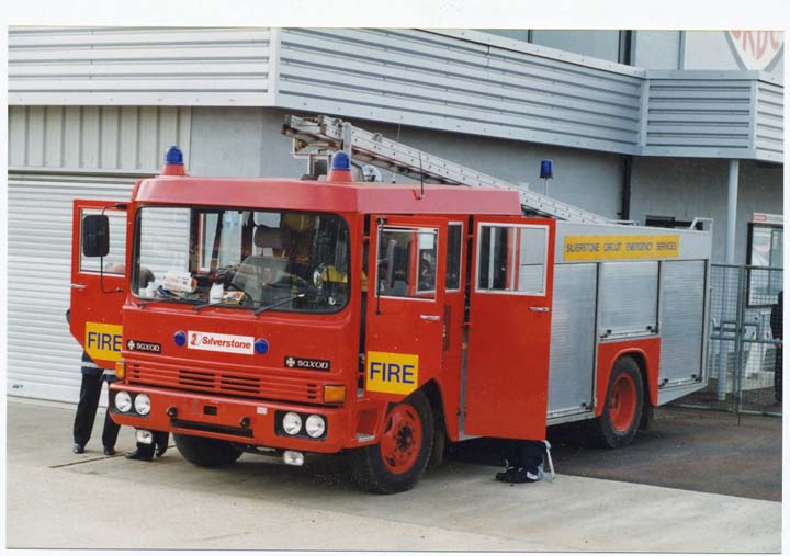 Fire engine at Silverstone Motor Racing Circuit