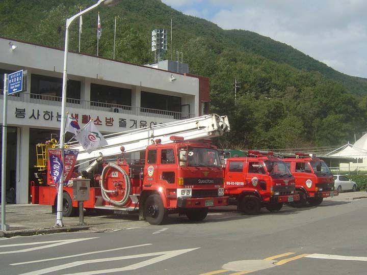 Bukok Fire Department Fire station and line up