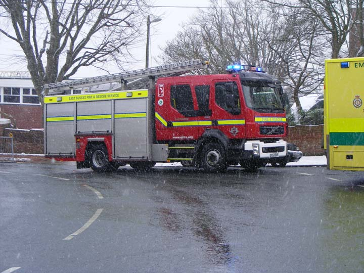 Volvo Fire engine  in a snow filled East Sussex