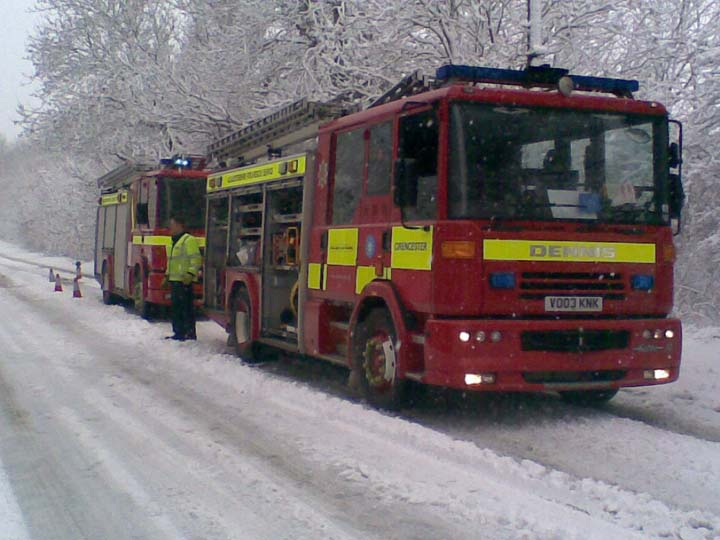 Fire fighting in the snow.