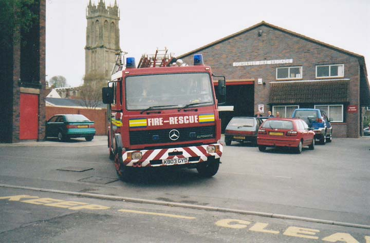 Glastonbury Fire station Mercedes turning out