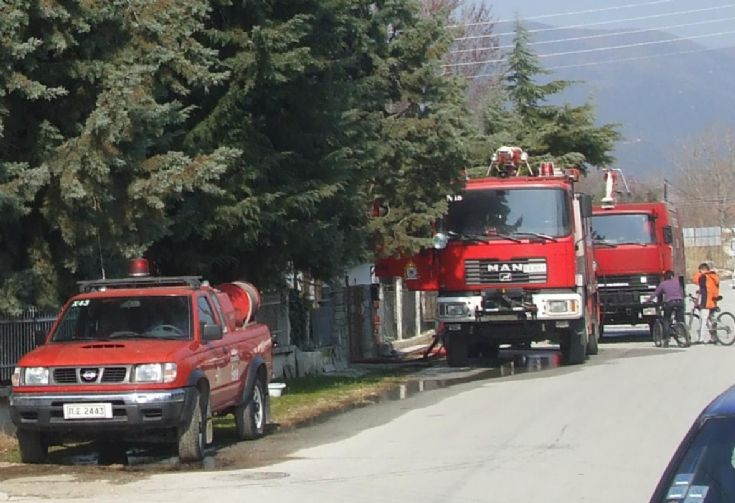 Fire enginees in action Greece