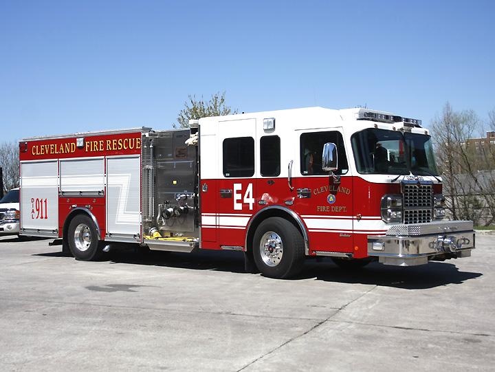 Crimson Spartan Fire truck Cleveland Fire Rescue
