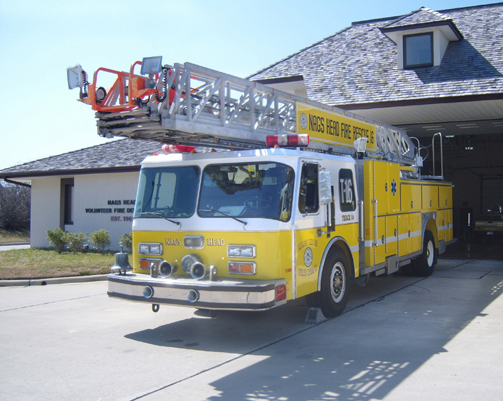 Nags Head Fire-Rescue E-One rear mounted ladder