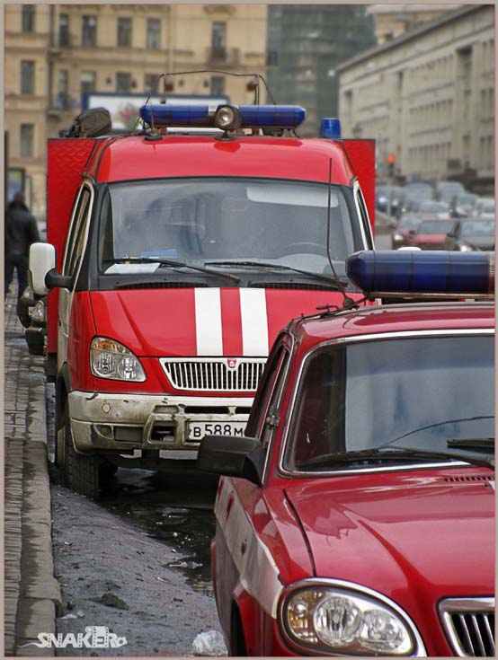 Two fire engines in St Petersburg Russia