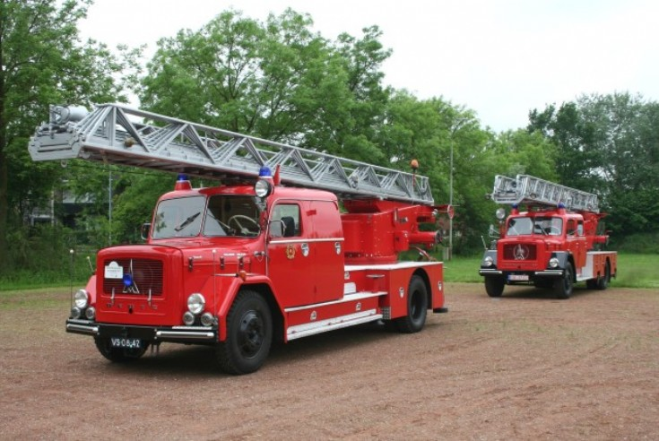 Two Magirus-Deutz Eckhauber turntable ladders