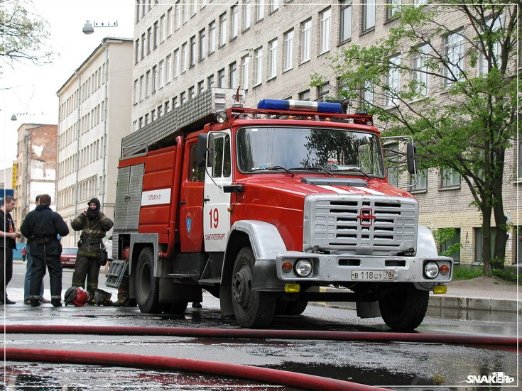 Russian Zil fire engine at incident