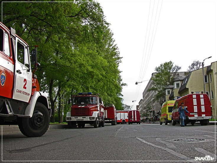 Fire engines at Fire incident St Petersburg
