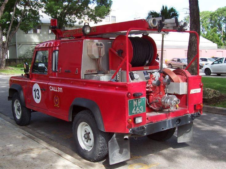 Barbados Fire Service Land Rover back