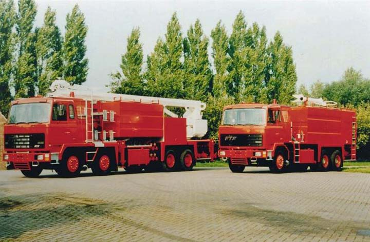 Image of two special FTF fire trucks for Egypt