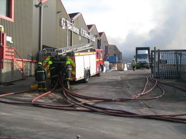 Engine at work Dewsbury Rubbish Fire February 2010