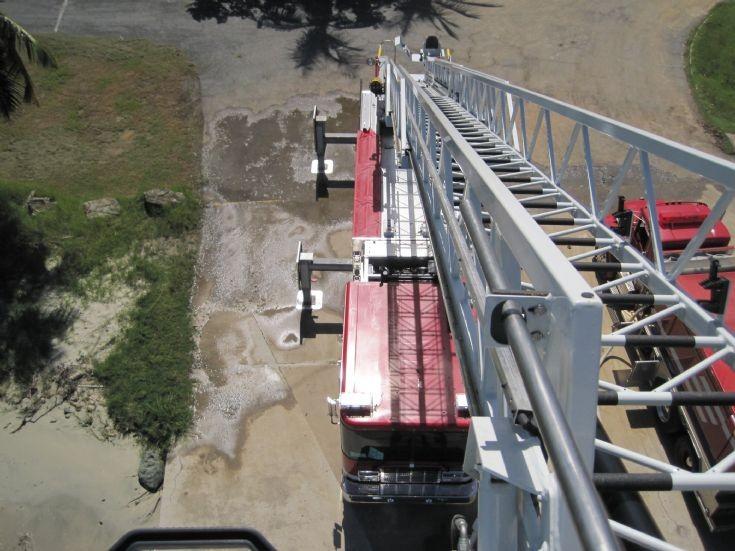 Going up - Rosenbauer 85 aerial USVI