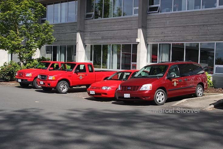 Cars from the Saanich Fire department
