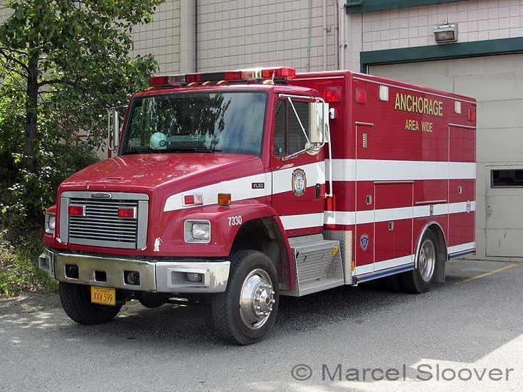 Anchorage Fire dept Freightliner FL60 left