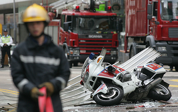 Fire Engines Photos Bmw Motorcycle Skidded In Front Of