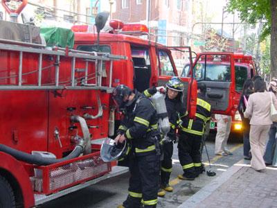South Korean firemen in action