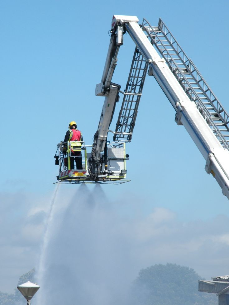 Selsey fire Hampshre Bronto Volvo
