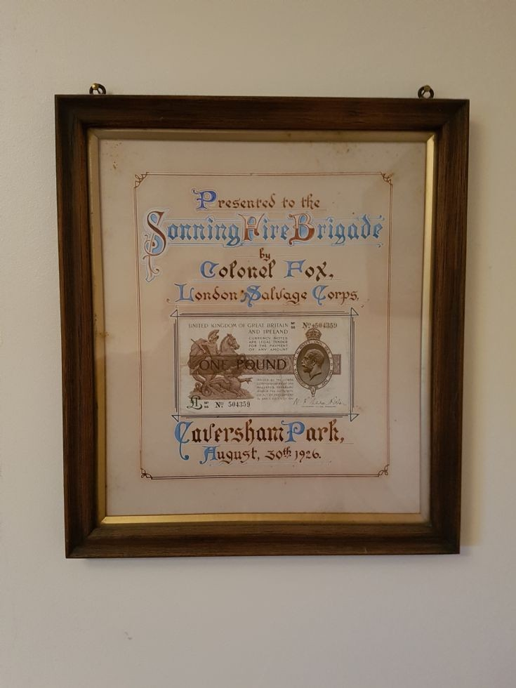 Sonning Fire Brigade award 1926