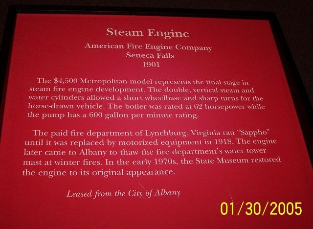 1901 American Steam Fire Engine Text