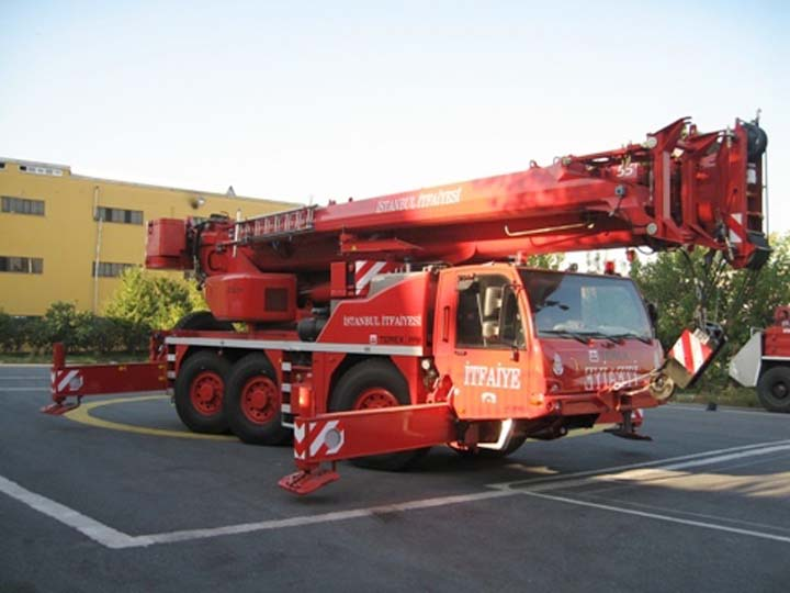 Istanbul city fire Department rescue crane truck