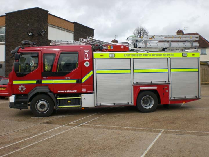 East Sussex Volvo FLL-15 at Hove Fire station